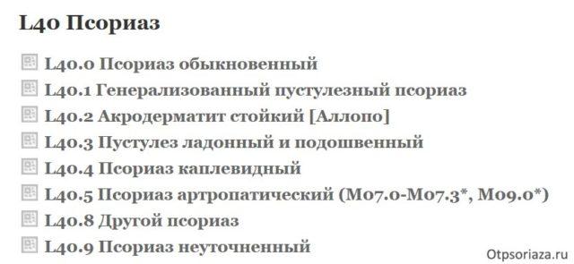 классификация псориаза по мкб-10